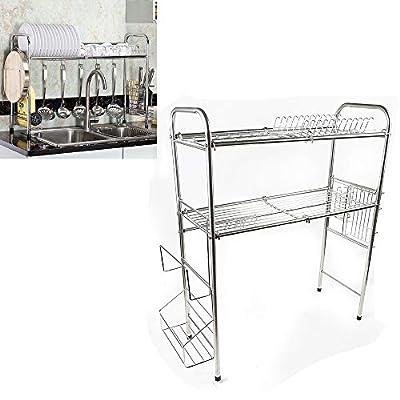 TFCFL Stainless Steel Sink Rack Dish Drying Rack Over Sink Kitchen Supplies Storage Shelf Tableware Drainer Organizer Utensils Holder by