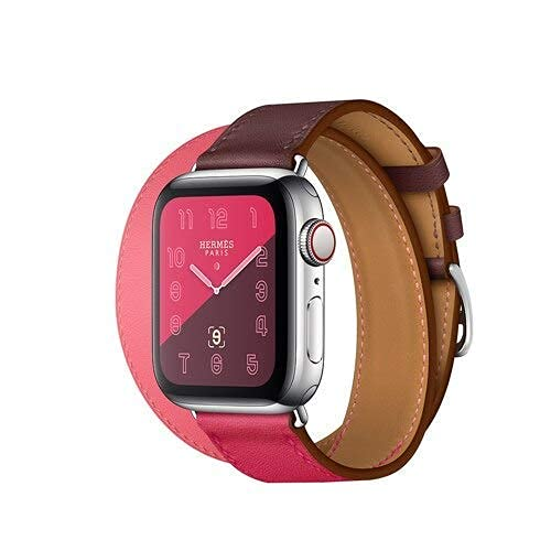RVTYR Correa de cuero asequible para reloj de 4 bandas de 4 mm 40 mm iwatch Band 42 mm Correa 38 m Pulsera doble Tour Correa de reloj 5 4 3 2 correas de repuesto