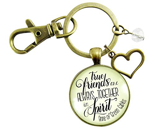 Gutsy Goodness True Friends Are Always Together Keychain Literary Quote Heart Jewelry