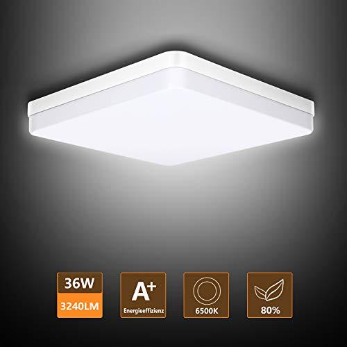 Ouyulong LED Deckenleuchte 36W 6500K 3240LM, Für Wohnzimmer,Schlafzimmer,Balkon -Super helle Deckenleuchte, Deckenleuchte Wohnzimmer Weiß 230×230×40 mm