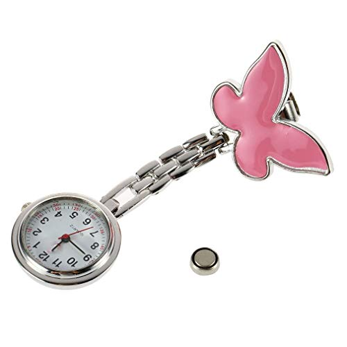 Lindo Colgante Mariposa Enfermera Broche con Clip Reloj de Bolsillo Colgante de Cuarzo