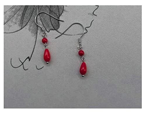 SHUANGJ S925 Plata esterlina Pendientes Mujer Temperamento Salvaje mar Rojo bambú Pendientes de Coral Moda Pendientes Simples A Pair of Ear Hooks