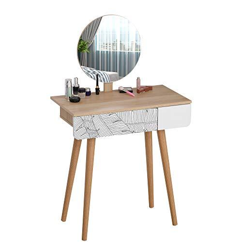 homcom Tavolo da Trucco con Specchio Circolare Ф39cm e Cassetto con Decorazione Jungle, Bianco e Rovere, 70x39x119-128cm