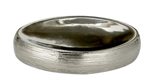 Bathsense Silver Ceramic Soap Dish With Strip Lines For Shower, Electroplating Dazzle