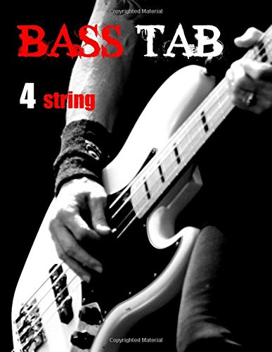 BASS TAB blank: BASS TAB PAPER - blank bass tablature sheets - white pages.