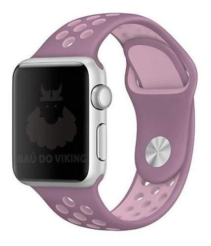 Pulseira Silicone Furos, compatível com Apple Watch (Violeta Rosa, 38mm Pequeno)