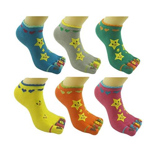 BONAMART toe socks, 6 Packs Split 5 Toes Crew Toe Socks for Kids Girls Boys, 3-5 Years Od