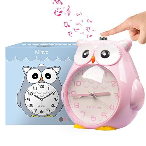 Wecker Kinder ohne Ticken Kinderuhr mit nachtlicht, Schlafzimmer Snooze Funktion Uhr mit Dim Yellow Night Light und laut Alarm für Kinder, Batterie betrieben