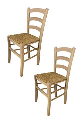 Tommychairs - Set 2 sillas Venezia para Cocina y Comedor, Estructura en Madera de Haya lijada, no tratada, 100% Natural y Asiento en Paja