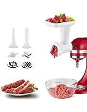 Vleesmolen, opzetstuk voor KitchenAid, keukenmachines, vleesmolen, accessoires met slijpschijf, worstvulhoorn, optionele accessoires voor KitchenAid blender, COFUN vleesmolen-opzetstuk (wit)