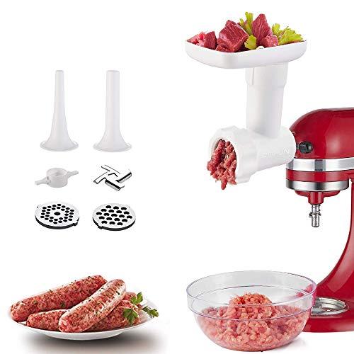 Accesorio picadora de carne para KitchenAid batidora de pie, accesorio para picadora de carne con disco de molienda, cuernos de llenado de salchichas, COFUN accesorio para picadora de carne (Blanco)