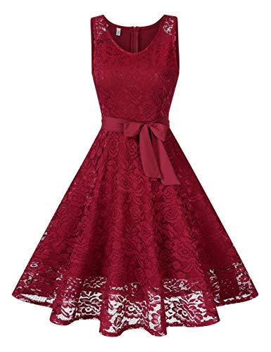 KOJOOIN Damen Spitzen Brautjungfernkleider für Hochzeit Abendkleider Ärmellos Kurzes Cocktail Ballkleid Dunkelrot XL