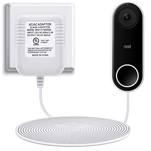 Power Adapter Compatible with Nest Hello Video Doorbell, Arlo and Eufy Doorbell, 18 Volt 500mA Transformer UL Certified with 16.4 ft Cable