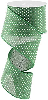 Emerald Green White Raised Swiss Polka Dots Wired Ribbon (2.5 Inches x 10 Yards)