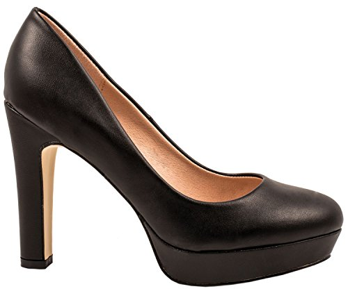 Elara Jumex Damen High Heels Schuhe Plateau Pumps Chunkyrayan P E22321-Schwarz-37