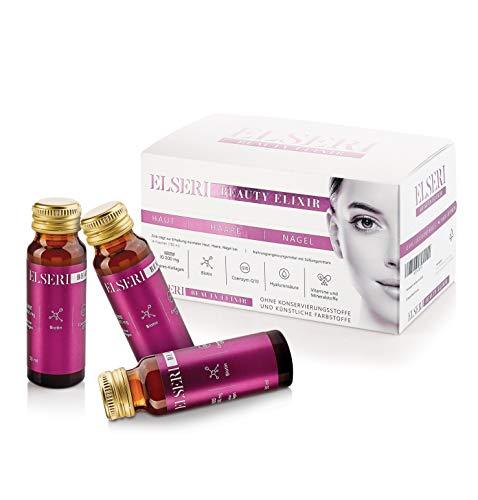 ELSERI Beauty Elixir 10.000 mg Kollagen Trinkampullen in Glasflaschen, Marine Collagen Drink OHNE Konservierungsstoffe und Zucker, toller Geschmack, mit Biotin, Hyaluron, Q10
