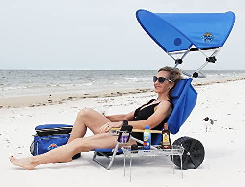 Mac Daddy Beach Chair w/Wide Tall Wheels Portable Folding Recliner Lounge for Sun Tanning, Camping, Patio, Outdoor Pool w/Lock & Large Storage Pocket Waterproof Canopy
