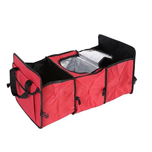 Plegable de 3 compartimientos Auto maletero del coche Organizador Con refrigeración y aislamiento (Rojo)