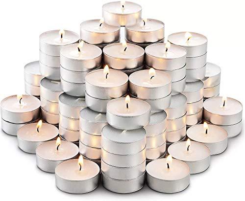 FENGHU 50 velas, velas de té, sin sabor, a granel, blanco, sin humo, sin goteo, velas de larga duración, pequeñas velas pequeñas, quemaduras más duraderas.