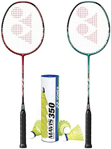 YONEX 2 Nanoflare Drive with Mavis 350 Yellow Medium Shuttle Badminton Combo Set product image