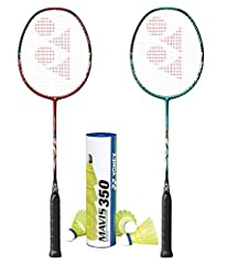 Yonex Original US version Racket 2 Nanoflare Drive Racquets (4UG5) 1 Tube of Mavis 350 Yellow Medium Nylone Shuttlecock Ready to go badminton set! Colors will be random