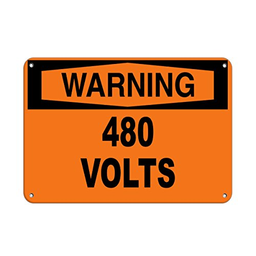 Aluminum Horizontal Metal Sign Multiple Sizes Warning 480 Volts Hazard Labels Brown High Voltage & All Over Weatherproof Street Signage 10x7Inches