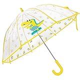Paraguas Transparente para niños, Paraguas de Dinosaurio para niños Paraguas de Varilla para niñas Paraguas de cúpula Transparente Transparente - Semiautomático y Ligero