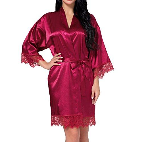hibote Sexy Vestido de Novia de Las Mujers Corto de Satén Novia Robe de Encaje de Seda Kimono Albornoz de Dama de Honor Ropa de Dormir Vino Rojo XL