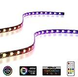 EZDIY-FAB Tiras de LED RGB direccionables con imán para la Caja de la computadora de la PC, con Control Remoto (Compatible con ASUS Aura Sync y MSI Mystic Light Sync) -2 Pack 40cm