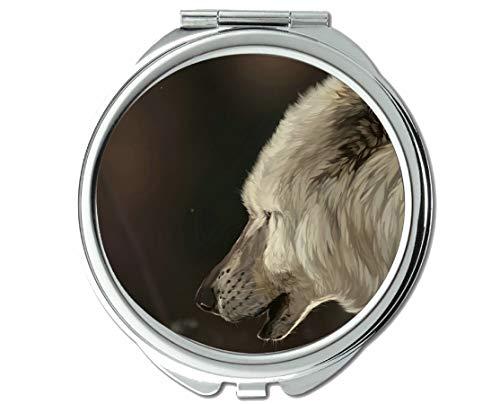 Yanteng Spiegel, Taschenspiegel, Animal Wolf Kids Taschenspiegel, 1 X 2X Vergrößerung