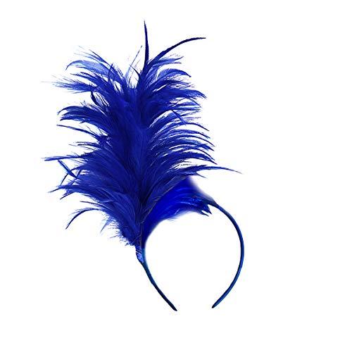 Fxaelian 1920s Fascinator Feather Headband Headpiece Flappers Kentucky Headwear Hair Accessories Tea Party Wedding Derby Prom Performance for Women Royal Blue