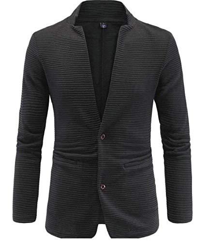 HX fashion Herrensakko Slim Fit Blazer Smart Anzugjacken Stehkragen Warm Langarm Bequeme Größen Business Casual Sakko Männer Übergang Kleidung (Color : Schwarz, Size : L)