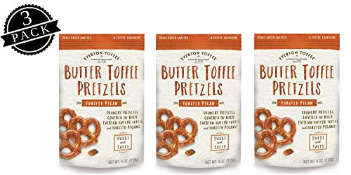 Everton Toffee Butter Toffee Pretzels, Toasted Pecan Flavor (4 oz. bag, 3-pack), Gourmet Artisan Toffee Covered Pretzels, Sweet and Salty Mini Pretzel Snacks, Small Batch Crafted