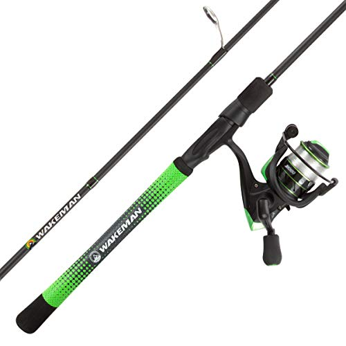 "Fishing Rod & Reel Combo- 6'6"" Carbon Pole, Spinning Reel & Golf Grip Handle- Bass, Trout & Lake Fish- Channel Series by Wakeman Outdoors (Blue)"