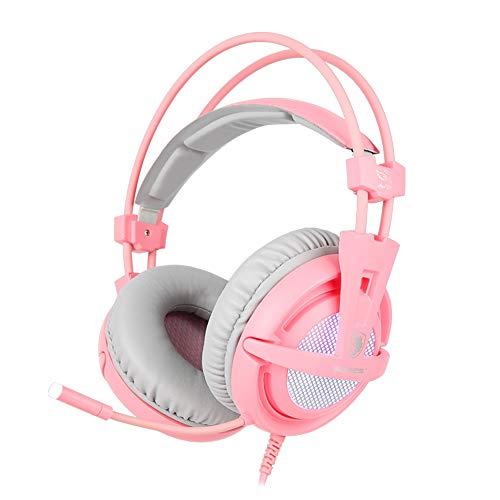 SADES USB-Gaming-Headset A6 [Angel Edition], 7.1 Surround Sound, PC-Kopfhörer mit geräuschunterdrückendem Mikrofon, pulsierende LED-Beleuchtung, für PC/Computer/Laptop in Pink