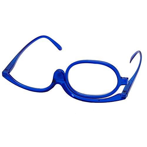 Logres Lunettes pliantes à verres effet loupe, monocle rotatif, pour application de maquillage ou lecture, bleu