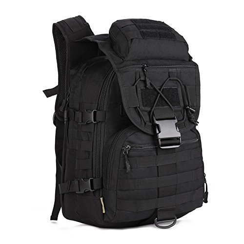 Tactical Backpack 40L Trekking Rucksack Water Resistant Military Army Combat Rucksack MOLLE Hiking Backpack Black