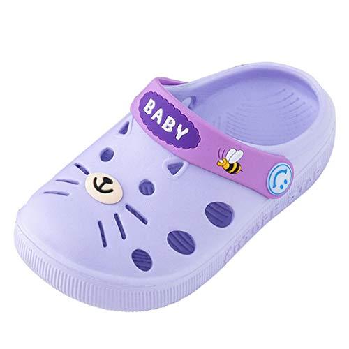 WEXCV Kleinkind Kleinkind Baby Kinder Mädchen Jungen Hausschuhe Cartoon Katze Boden Schuhe Sandalen (21 EU, Lila)