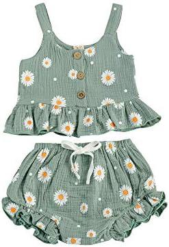 Toddler Baby Girl Cotton Linen Clothes Set Daisy Flower Print Sleeveless Ruffled Hem Tank Tops product image