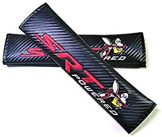 Foxxi Pair Embroidery Carbon Fiber Sport SRT POWERED Scat Pack Seat Belt Cover Shoulder Pad Cushion Super Bee Racing