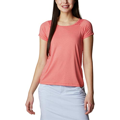 Columbia Peak To Point Camiseta técnica de Manga Corta, Mujer, Naranja (Bold Orange Heather), XL