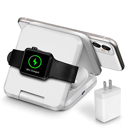 Fast QI Wireless Charger, Foldable Travel Wireless Charging Station Designed for Apple Watch, Wireless Airpods and iPhone 11 11 pro 11 Pro Max Xs X Max XR X 8 8 Plus, with 30W PD Adapter