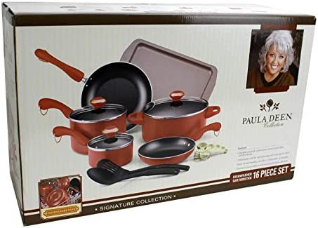 Paula Deen 15 Piece Kitchen Cookware Set Nonstick Pots Home Pans Salmon 21625 product image