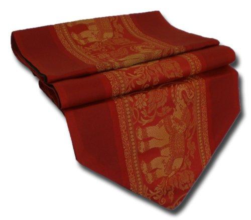 Table Runner Elephant Tablecloth Tablerunner Elegant Thai Silk (red)