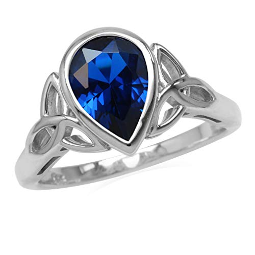 Silvershake Synthetic Blue Sapphire 925 Sterling Silver Triquetra Celtic Knot Ring Size 7