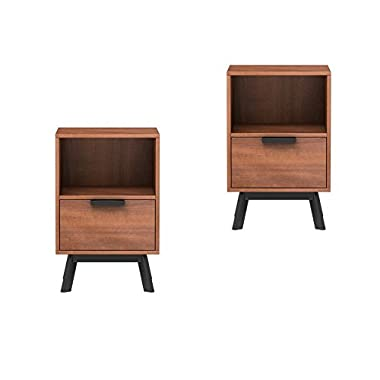 Mainstays Mid Century Modern 1 Drawer Nightstand in Vintage Umber Finish, Set of 2