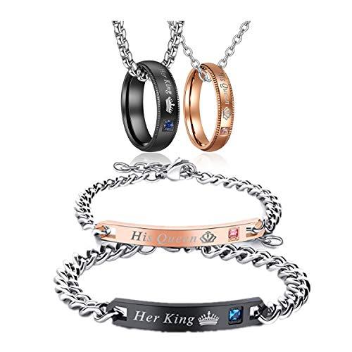 parejas anillos colgantes con cadenas, 50 cm y 60 cm, circonitas, anillos para parejas, collares con grabado, regalo de amor (TYP1) (TYP1)
