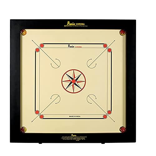Precise Carrom - Original - 6mm Chroma Excel - Nr.1 Carrom Manufacturer - Fabriker Weltmeister - Profi - Komplett mit Steinen Puder und Striker - Handgefertigt in India - Patentiert