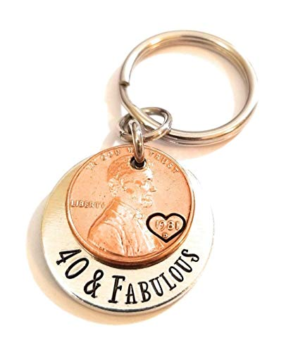 40 & Fabulous Coin Key Chain with a 1981 Luck Penny for 40th Birthday Gift for Her