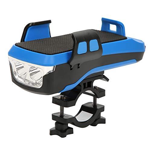 DyAn Luz De Bicicleta, 4 En 1, Multifunción, Carga USB, Faro De Bicicleta con Bocina, Recargable, Lámpara Delantera para Bicicleta, Soporte para Teléfono